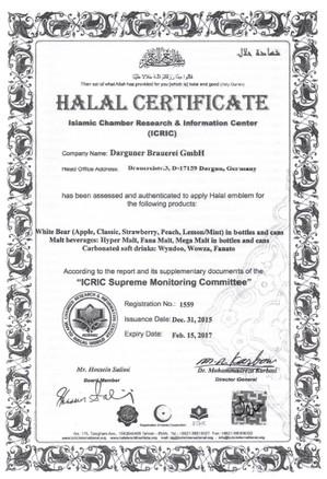 Certifikát kvality HALAL - Agro Fruit